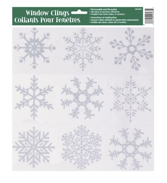 Silver Glitter Snowflakes Window Clings Sheet